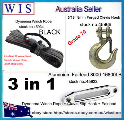 10mm x 30m Black Synthetic Winch Rope& Aluminum Hawse Fairlead & G70 Clevis Hook