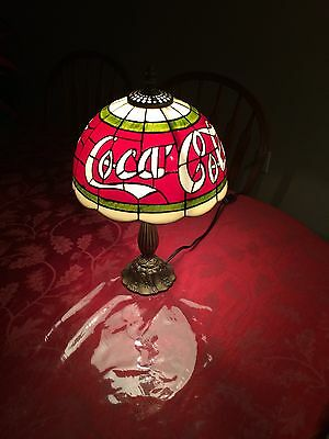 Vintage Coca Cola (Coke) Tiffany Stained Glass Style Antique Brass Table Lamp