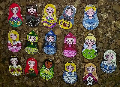 """Disney Princess """"Russian Stacking Dolls"""" Trading Pins COMPLETE Set of 16"""