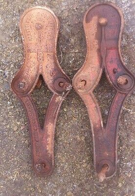 Vintage Allith Prouty Fire Hangers -Set Of 2- Barn door slides- Great barn Find!