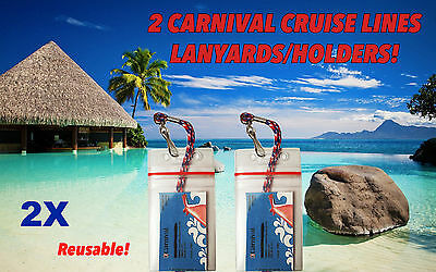 2 Carnival PrincessCruise Lines ZIP LOCK Lanyards & Holders for Sail & Sign Card