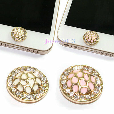 2pcs Cute Crystal Round Home Key Button Sticker For iPad iPhone 5 5S 4 4S 6 plus