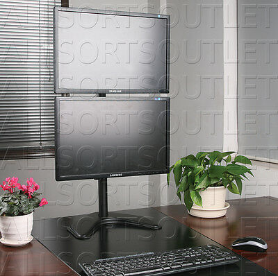 Vertical Dual Double Lcd Monitor Stand Freestanding Adjustable 2 Screens 15-27""