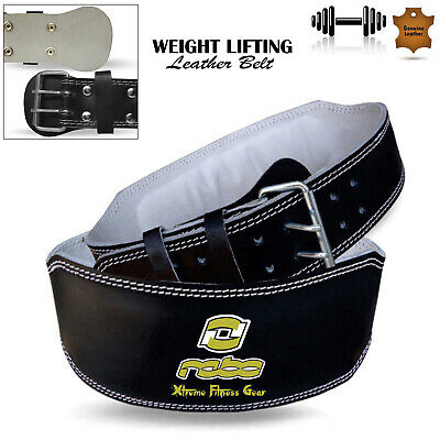 """Leather Weight Lifting Belts Gym Fitness 4"""" Wide Back Support Training Black"""
