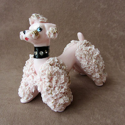 Vintage 1950s SPAGHETTI POODLE Pink with Rhinestone Collar +Sparkly Gold Accents