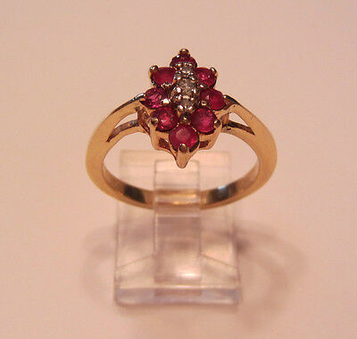 14k Yellow Gold Natural Rubies & Diamond Accents Cluster Cocktail Ring Size 8.5