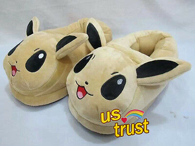New Pokemon Eevee Plush Adult Slippers Home Decoration Shoes 11Inch