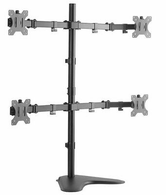 """Quad Lcd Led Tft Monitor Desk Stand Free Standing Adjustable 4 Screens 15-24"""""""