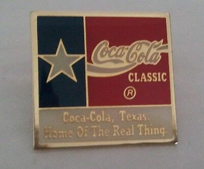 "PIN metal COKE Coca-Cola Classic Texas Flag ""Home of the Real Thing"""