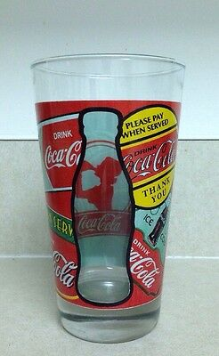 Unique collectible 'DRINK' Coca-Cola Glass with see through bottle silhouette