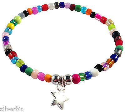 Dangly Star CHARM BRACELET Multi-Colour Glass Seed Beads Elastic Good Luck Lucky