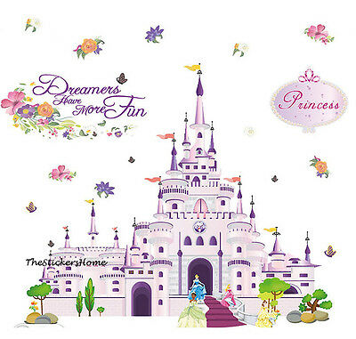 DISNEY PRINCESS CASTLE Wall Stickers Art Decor Girls Bedroom Baby Nursery Decals