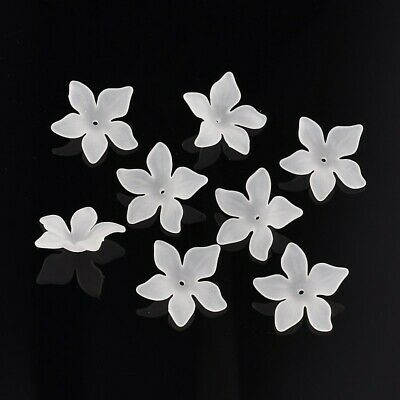 50pcs Frosted Translucent Acrylic Flower Beads Jewelry Making Bracelet Findings