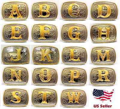Small Initial Square Western Belt Buckle Rodeo Gold Tone Cowboy Letter