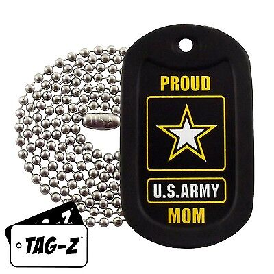 Military Dog Tag Necklace -  Proud U.S. Army Mom Dog Tag with a Dog Tag Silencer