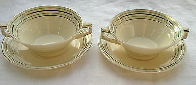 2 Double Handled cream soup boullin Bowl & Saucer Grindley England - Green/Silve