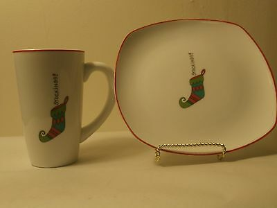 Fitz and Floyd Gourmet Happy Holidays Mugs & Snack Plates Set of 4 each