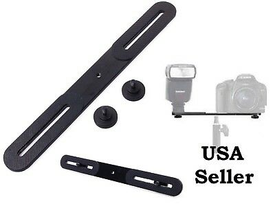 "Dual Flash Bracket Holder for 1/4"" Screw Studio Tripod Light Stand DSLR Camera"