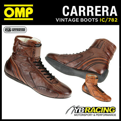 Ic/782 Omp Carrera Vintage Racing Boots Classic Leather Style 2 Colours
