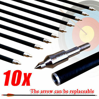 "10 x 32"" Fiberglass Arrows 15-80lb Screw Hunting Target Archery Compound Bow"