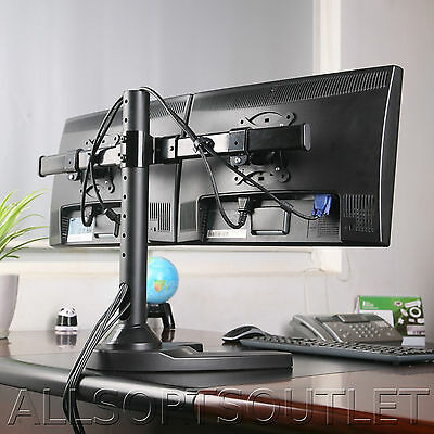 Dual Twin Monitor Desk Stand Curved Arm Freestanding Adjustable 2 Screens 15-27""