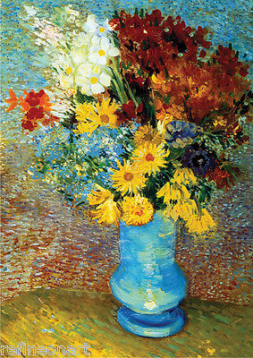 Flowers in a blue vase by Vincent Van Gogh Handmade Oil Painting repro