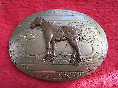 Vintage Nickel Silver With Copper Horse Belt Buckle
