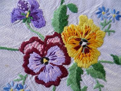 Beautiful Bright Pansies Vintage Heavily Hand Embroidered Tablecloth