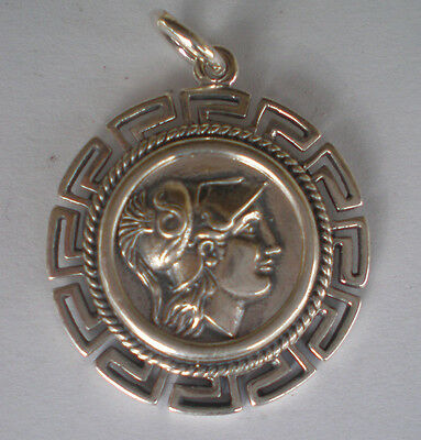 Helmetted Goddess Athena Silver Coin Pendant -Meander Design - High Quality Item