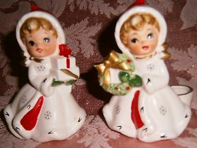 Vtg Napco Snow Flake Girls shopper with box Candle Holder Charming display VGC