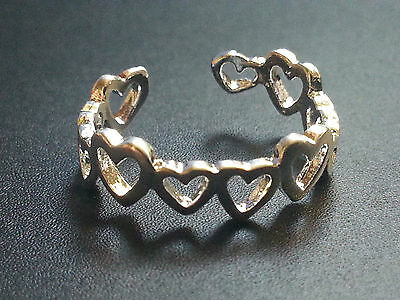 New -  Thumb or Toe Ring HEART Strong 925 Silver Open, Boho Ethnic Womens