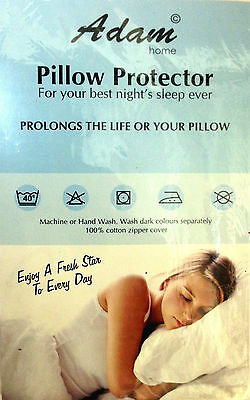 Anti Allergy Zipped 100% Cotton Pair of Pillow Protectors White