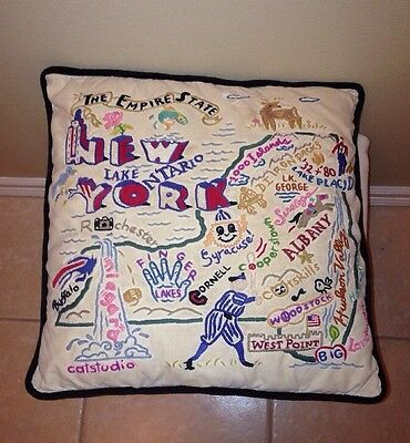 Catstudio 2005 New York Empire State Hand Embroidered Decorative Pillow