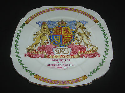 "Rare art-deco Bone China plate "" Coronation King George VI. 1937 "" Paragon"
