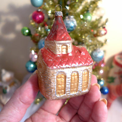 """Victorian Early Antique Glass Germany Xmas CHURCH Ornament 3.25"""" Painted House"""