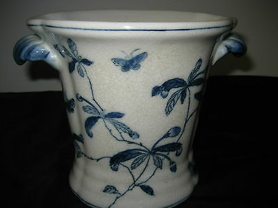 """VINTAGE RARE 1897 JUWC WHITE &BLUE dragonfly?butterfly?W/FLOWERS VASE 7 """" TALL"""