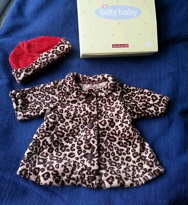 2005 AMERICAN GIRL BITTY BABY CHOCOLATE CHERRY COAT AND HAT - NEW IN BOX