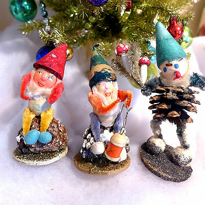 3 Vtg PineCone Chenille Spun Cotton Elves Elf Paper Mache Mushroom Bottle Brush