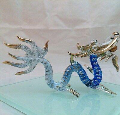 DRAGON HAND PAINT BLOWN GLASS ART GOLD TRIM FIGURINE DECOR/LUCKY COLLECTION#N21