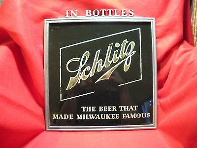 Rare Vintage Schlitz Beer Sign - Metal and Reverse Painted Glass