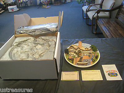 David Winter Cottages Plate On The Riverbank W Box & COA Collectors Guild Mint