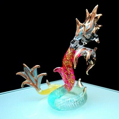 NAKA/DRAGON THAI HAND PAINT BLOWN GLASS ART GOLD TRIM FIGURINE DECO COLLECT#G210
