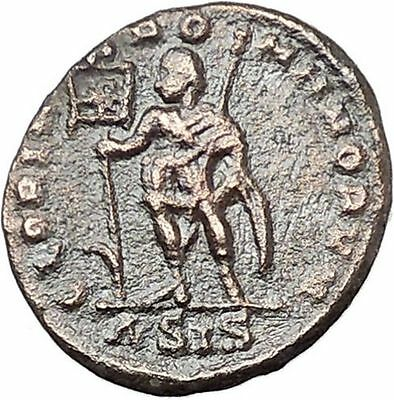 Vetranio with labarum & scepter  350AD Authentic Ancient Roman Coin i46762