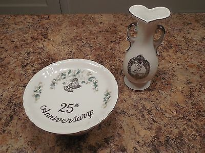 Pair of 25th Anniversary Porcelain Pieces Napcoware Bud Vase Lefton Cake Plate