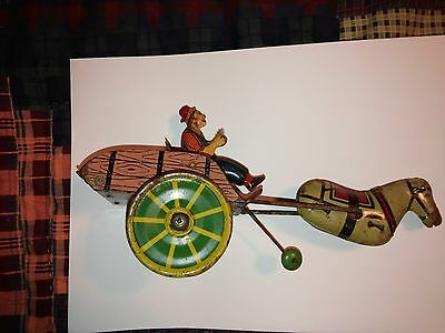 Vintage Wind Up Horse Cart Rider HEE HAW Tin Toy , Japan ?