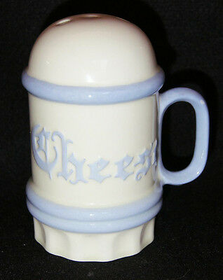 Large Vintage Blue and White Ceramic Cheese Shaker