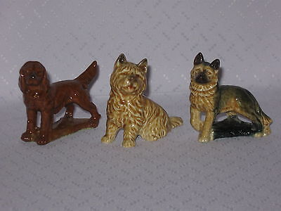 WADE WHIMSIES FIGURINES 3 DIFFERENT LARGE DOGS-RED SETTER-CAIRN-ALSATIAN *mint*