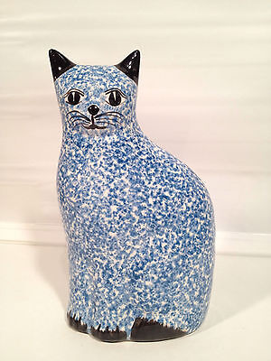 "Vintage Ceramic Blue Sponge Ware Cat Statue Figurine Country Chic 10.5"" Tall"