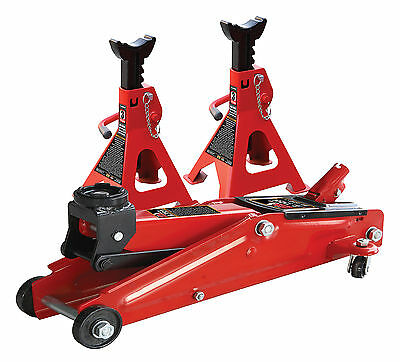 Big Red 3 Ton Trolley Jack & 3 Ton Double Locking Axle Stands  -SWE065