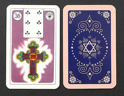 Vtg 1950's Lenormand Fortune Telling Oracle Cards Deck Card Inserts Pink Back